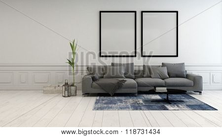 Minimalist grey and white living room interior with a comfortable upholstered couch below two large empty picture frames hanging on a white wall. 3d Rendering.