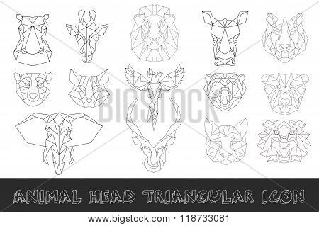 Front view of animal head  triangular icon set