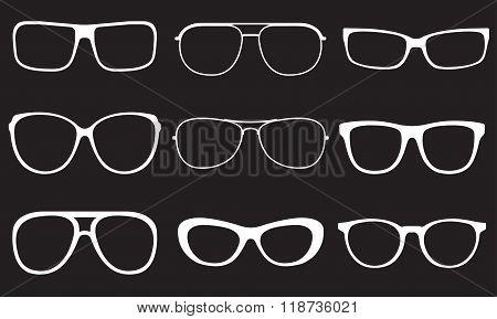 Glasses set. Sun glasses white silhouettes. Vector illustration.