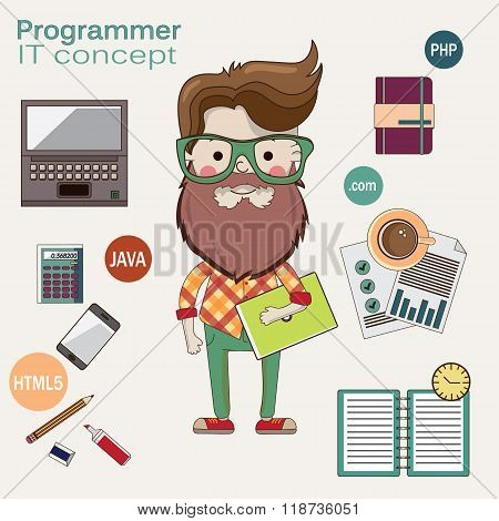 Programmer with a laptop and beard in glasses