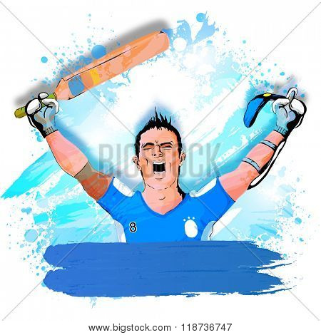 Cricket Sports concept with illustration of a Batsman in winning pose on abstract background.
