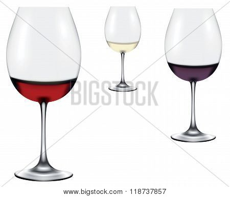 Red, Rose, White Wine In A Wine Glasses