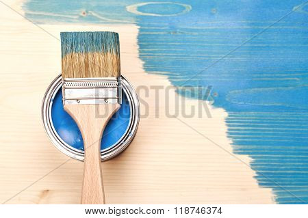Paint brush on the can