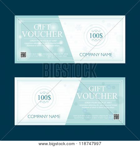 gift voucher 100 dollars, special winter present, two text labels, vector