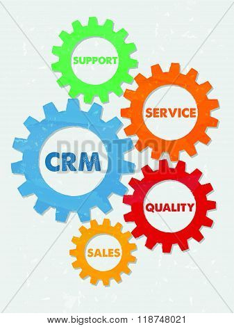 CRM and business concept words in grunge flat design gears, vector