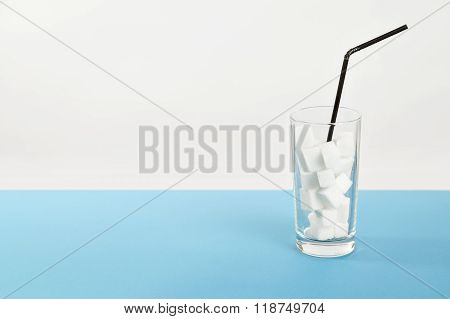 Glass sugar, diabetes disease, sweet addiction