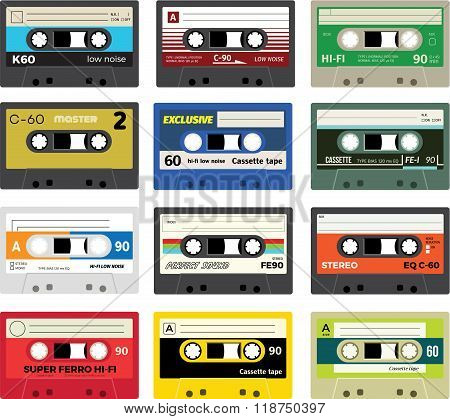 Collection of retro plastic audio cassettes