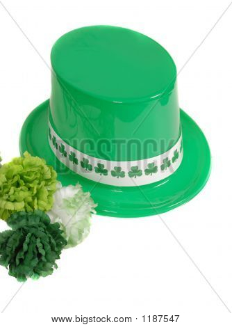 Isolation Of A St. Patrick'S Day Hat With Green Carnations