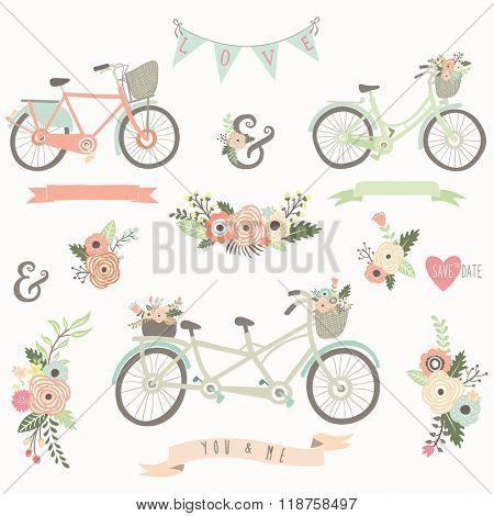Vintage Hand Drawn Floral Bike