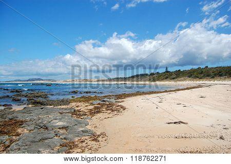 Stony Sand Beach At New Zealand