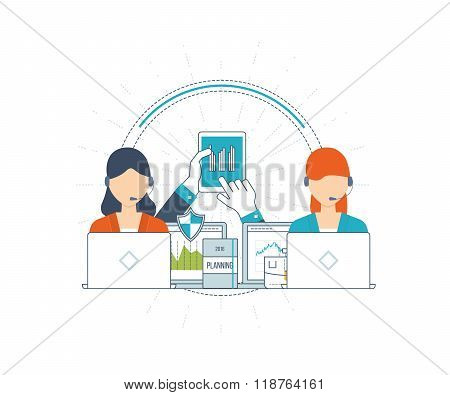 Investment, strategy planning, finance, project management, market data analytics concept