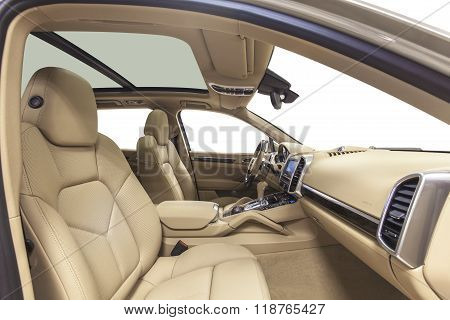 Car interior front seats, dashboard, steering wheel & panoramic roof