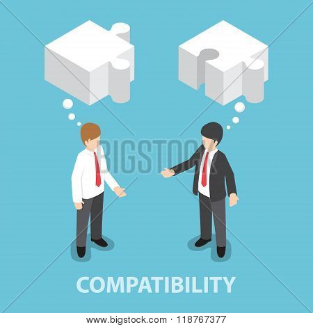 Isometric Businessman In Conversation With Blank Speech Jigsaw Shape