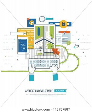 Application development concept  for e-business, web sites, mobile applications