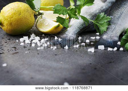 Raw Seabass With Salt, Lemon And Parsley