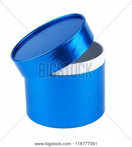 Blank Round Gift Box With The Lid Ajar.