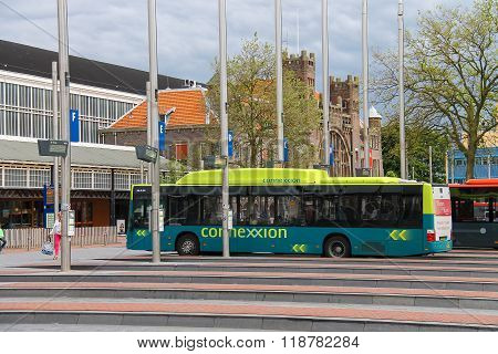 Big Buses Near The Building Of Railway Station In Haarlem, The Netherlands