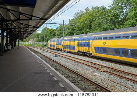 Modern Train At The Railway Station In Haarlem, The Netherlands