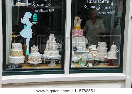 Big Cakes In The Window Of The Confectionery Shop (cakeworks Studio)in Haarlem, The Netherlands