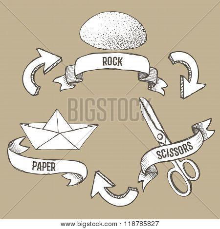 Sketch Rock, Scissors, Paper Poster