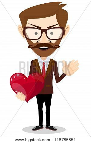 The man gives love in the form of heart