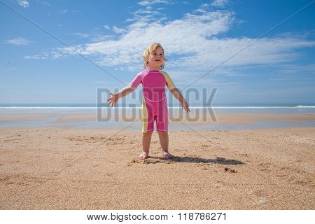 Baby Swimsuit Standing At Beach