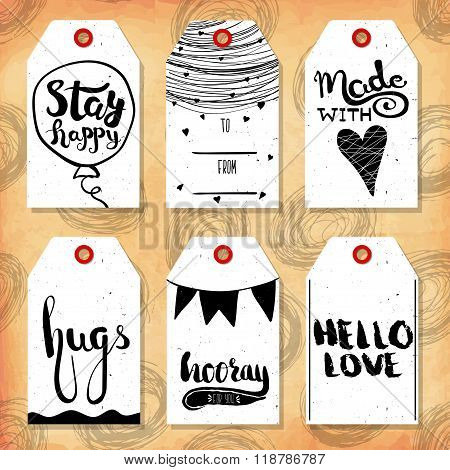 Collection handdrawn in the style of the lovely ready-made gift tags with love for lovers. Vector