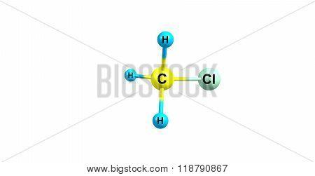 Chloromethane molecular structure isolated on white