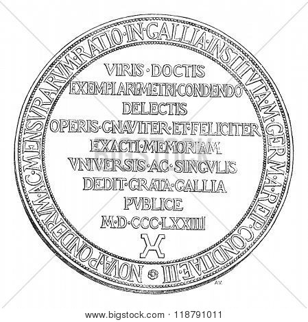 Reverse of the Medal of the Committee of the meter, vintage engraved illustration. Magasin Pittoresque 1876.