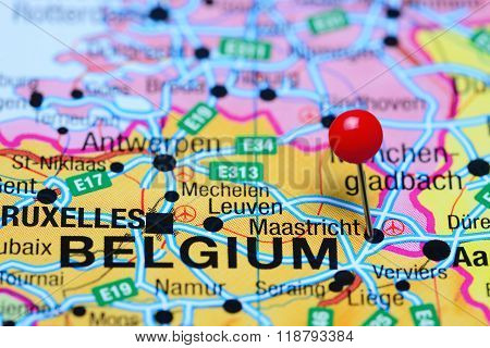 Maastricht pinned on a map of Belgium