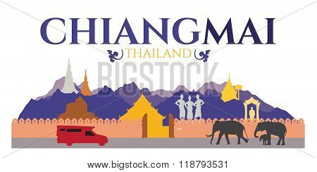 Chiangmai City Of Thailand - Attractions And Traval Location Such As Doi Suthep , Tha Phae Gate And