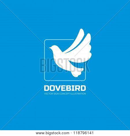 Dove bird - vector logo concept illustration in classic graphic style. Bird logo. Dove logo. Vector