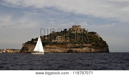 Aragonese castle at sunset. Ischia island. Italy
