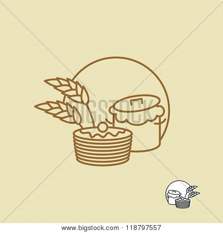 Batter And Pancakes Linear Emblem For Bakeries. Ears Of Rye And Pastries. Logo For Store Bread Or Ba