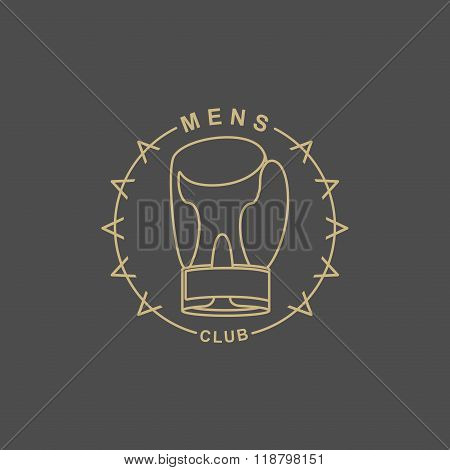 Mens Club Logo. Emblem For  Sports Club For Men. Sign Of Sports Hall. Boxing Glove And Barbed Wire.
