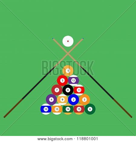 Snooker Ball Set Of Objects Cue