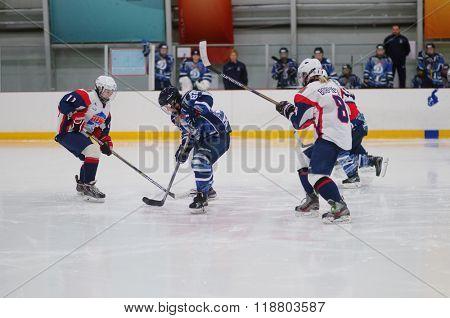 ST. PETERSBURG, RUSSIA - FEBRUARY 17, 2016: Women's ice hockey match Dinamo Saint-Petersburg vs Biryusa Krasnoyarsk. The teams fighting for 3rd place in Russian women's ice hockey championship