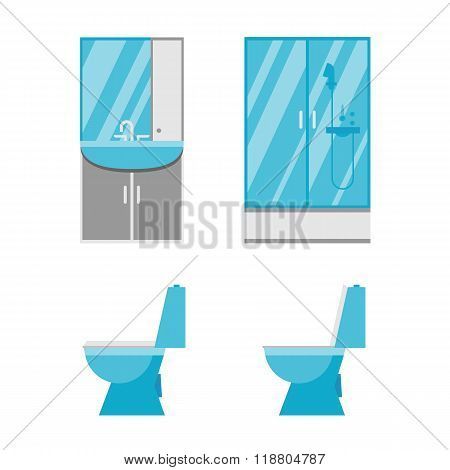 Flat bathroom icons