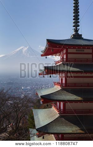 Mt. Fuji with Chureito Pagoda in dry winter