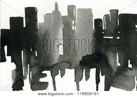 Abstract closeup watercolour aquarelle hand drawn wash drawing arty grunge creative daub with runs black and white on paper texture background horizontal picture