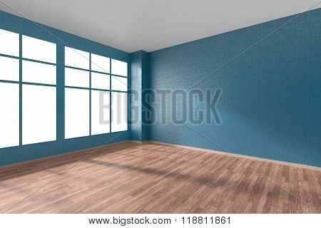 Empty Room With Parquet Floor, Textured Blue Walls And Window