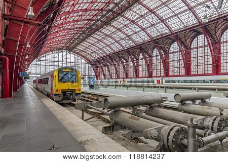 Train Ready For Departure At Antwerp Central Station, Belgium
