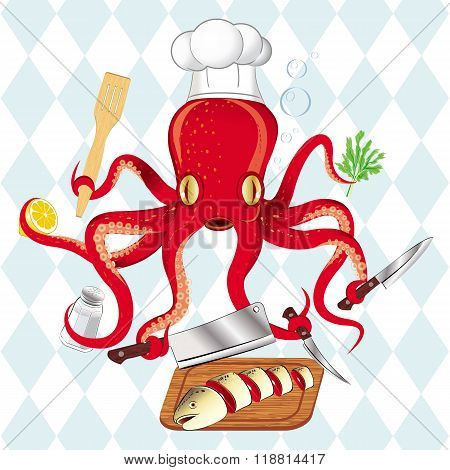 Octopus cooking sushi and fish