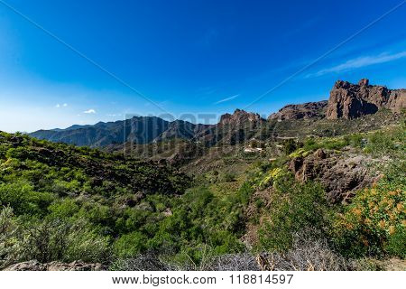 Spectacular panoramic view of Fataga valley on Gran Canaria (Grand Canary), Spain
