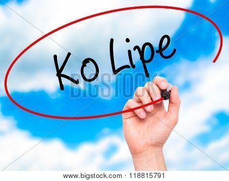 Man Hand Writing Ko Lipe With Black Marker On Visual Screen