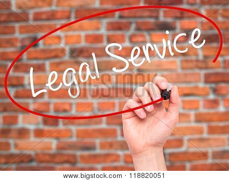 Man Hand Writing Legal Service With Black Marker On Visual Screen