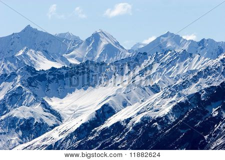 Snowy mountain tops in Alaska