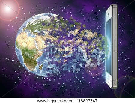 Mobile phone engulfing the Earth on a space background