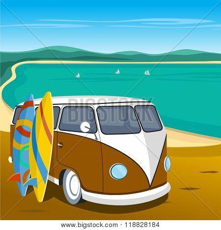 old car on the beach vector illustration