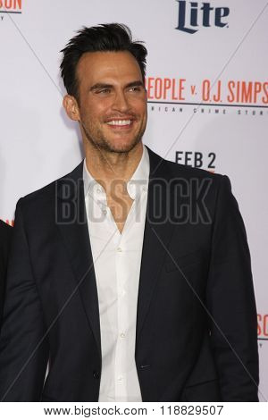 LOS ANGELES - JAN 27:  Cheyenne Jackson at the American Crime Story - The People V. O.J. Simpson Premiere at the Village Theater on January 27, 2016 in Westwood, CA